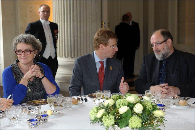 Nieuwjaarslunch op het kasteel van Laken, met rechts Luc Asselman, januari 2012. Beeld Photo News