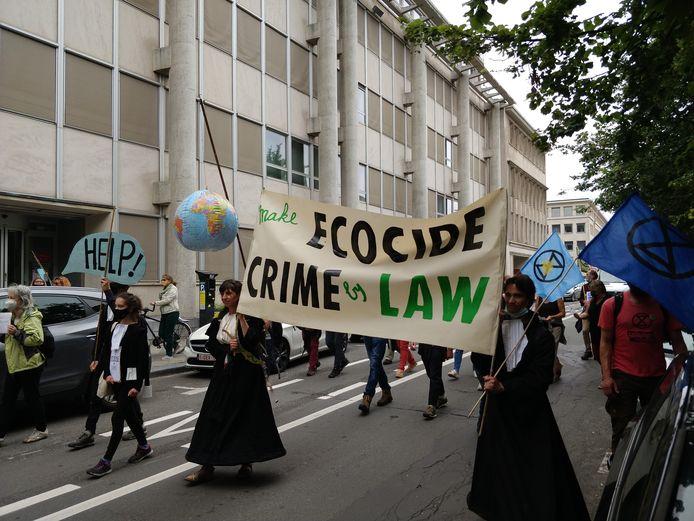 Afgelopen weekend voerde een vijftigtal mensen in Brussel actie om 'ecocide' op te nemen in het Belgische en internationaal strafrecht.