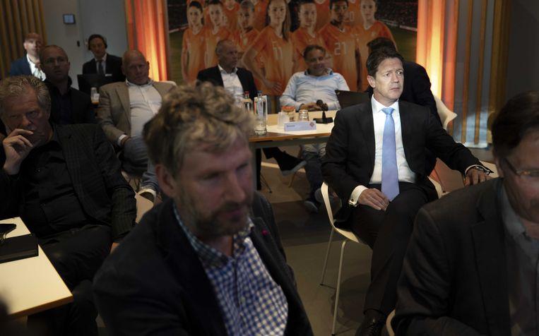Just Spee voorafgaand aan de buitengewone bondsvergadering van de KNVB. Tijdens de vergadering wordt de nieuwe bondsvoorzitter benoemd.  Beeld ANP
