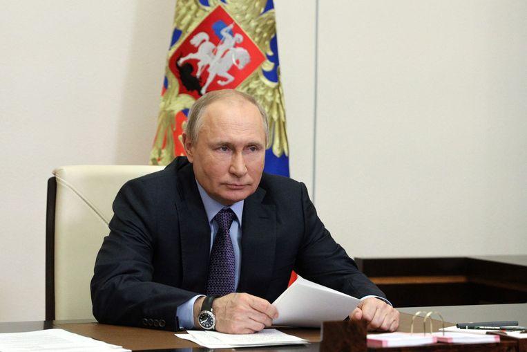 De Russische president Vladimir Poetin, die komende week voor het eerst een ontmoeting heeft met zijn Amerikaanse ambtsgenoot Joe Biden. Beeld AFP