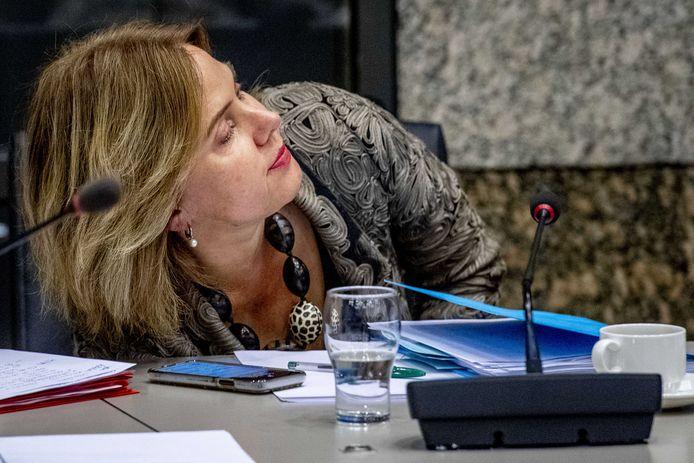 Minister Cora van Nieuwenhuizen van Infrastructuur en Waterstaat tijdens de vergadering van de Kamercommissie voor Infrastructuur en Waterstaat over de Stint