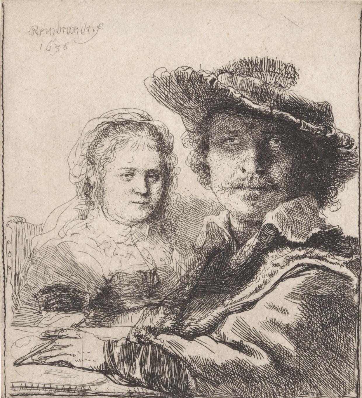 Rembrandt, Zelfportret met Saskia, 1629-1633, uit het Rijksmuseum,