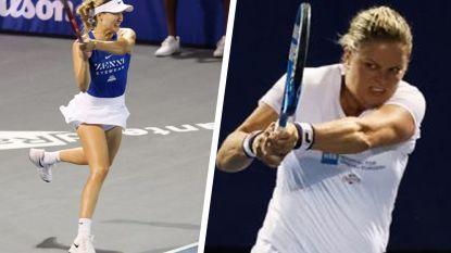 Clijsters wint gemengd dubbelspel tegen Genie Bouchard, die daarna revanche pakt in vrouwendubbel