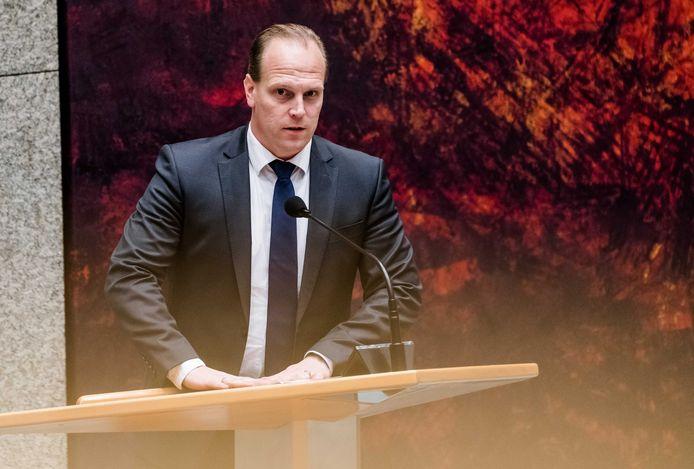 Roy van Aalst (PVV) tijdens een debat in de Tweede Kamer.