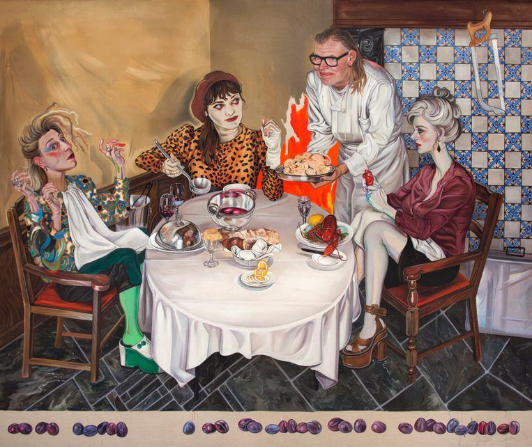 In dit werk 'Salon Chef' schildert Kati Heck Johan Segers van 't Fornuis. De Antwerpse chef serveert haar en haar vriendinnen kreeft en een bordje hersenen. Volgens Johan Segers 'omdat mensen met dat orgaan keuzes maken en omdat men het moet gebruiken om te oordelen'. De kunstenares zit naast de chef, de vrouw met de drie handen is Chris Gillis, een vriendin van Kati die lesgeeft op de modeacademie. Rechts zit Julia Wlodkowski, de beste vriendin van Kati en zelf kunstenares.  Beeld Kati Heck