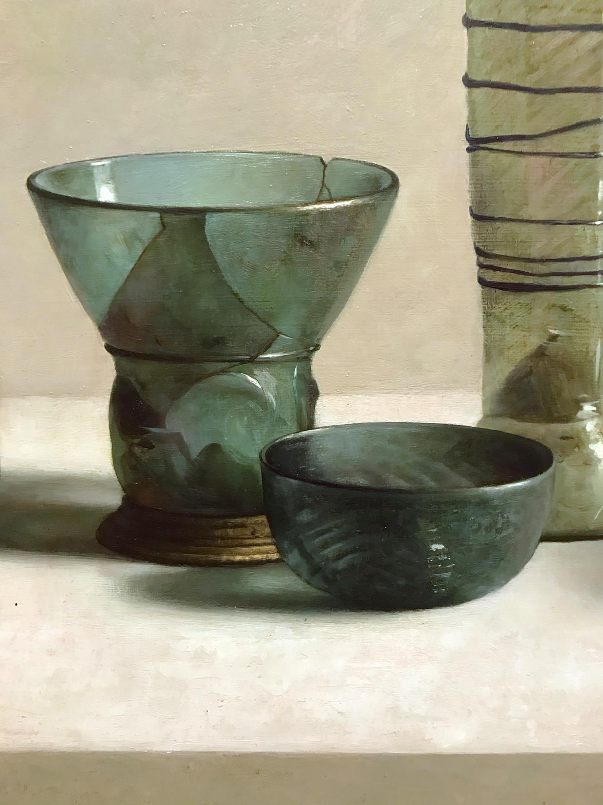 Detail uit Europees archeologisch glas, 2013, olieverf op paneel, 80 x 122 cm, Collectie Henk Helmantel.  Beeld Art Revisited, Tolbert