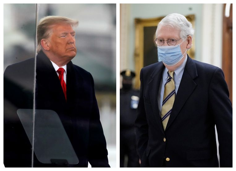 Links: Donald Trump. Rechts: de Republikeinse Senaatsleider Mitch McConnell. Beeld Photonews/AP