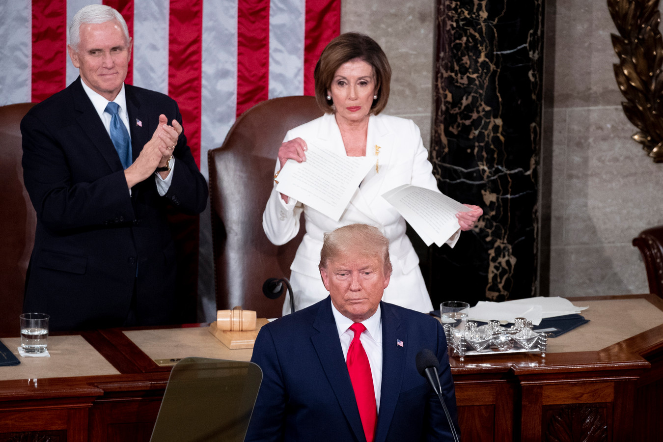 Le vice-président Mike Pence, Nancy Pelosi et Donald Trump