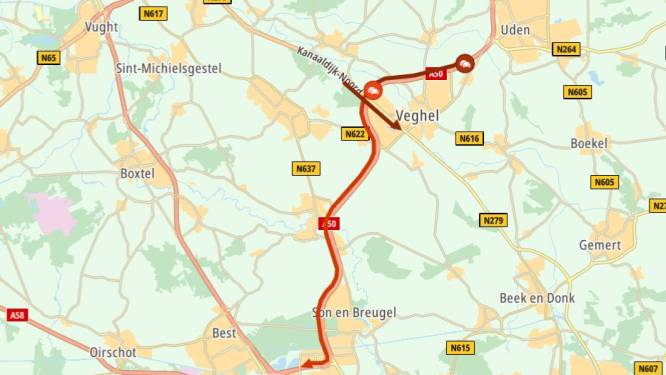 Verkeer op A50 tussen Veghel en Eindhoven loopt vast