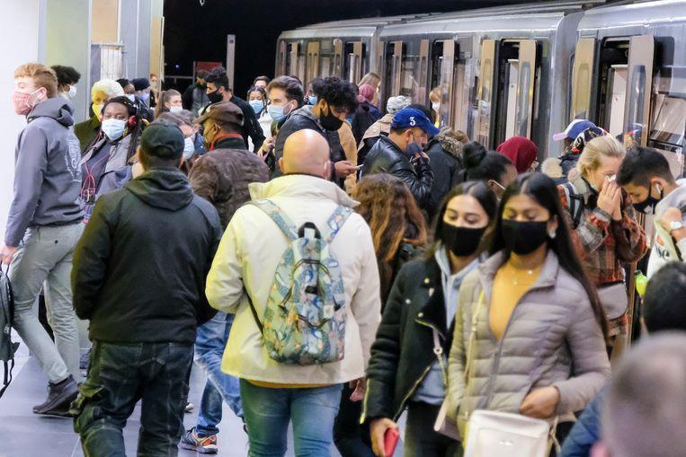 De metro in Brussel. Beeld Marc Baert