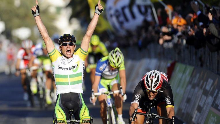 Gerrans haalde het in een spurt met drie voor Cancellara en Nibali. Beeld BELGA