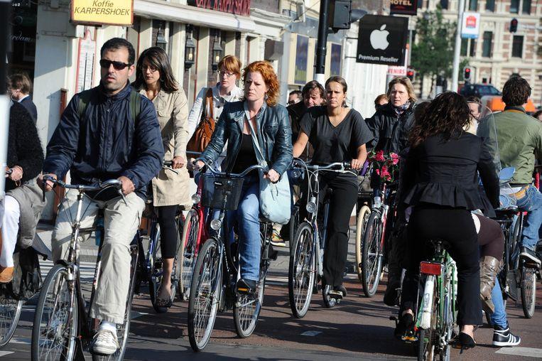 Fietsverkeer in Amsterdam. Beeld anp
