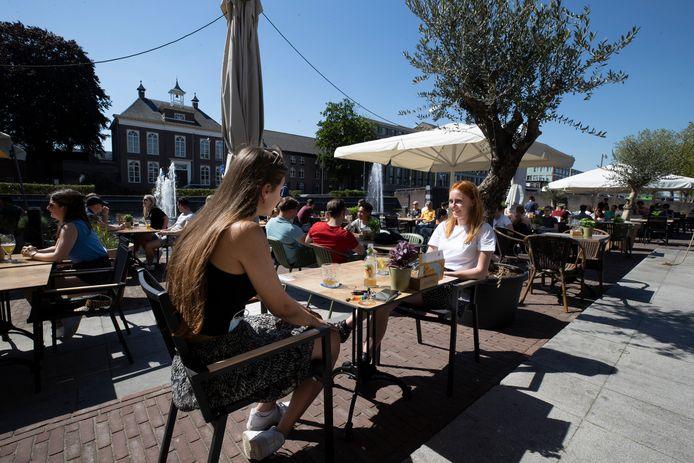 Het Havenplein in Helmond, afgelopen juni