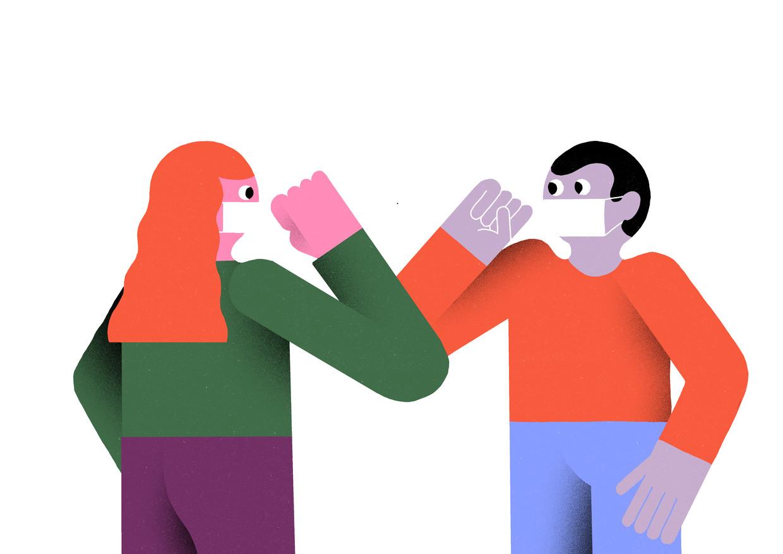 'Een familielid omhelzen komt terug, een oppervlakkig handje geven tijdens een vergadering niet', zegt Marc Van Ranst, viroloog (KU Leuven). Beeld Levi Jacobs