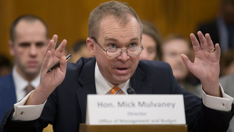 Amerikaans begrotingsdirecteur Mick Mulvaney. Beeld EPA