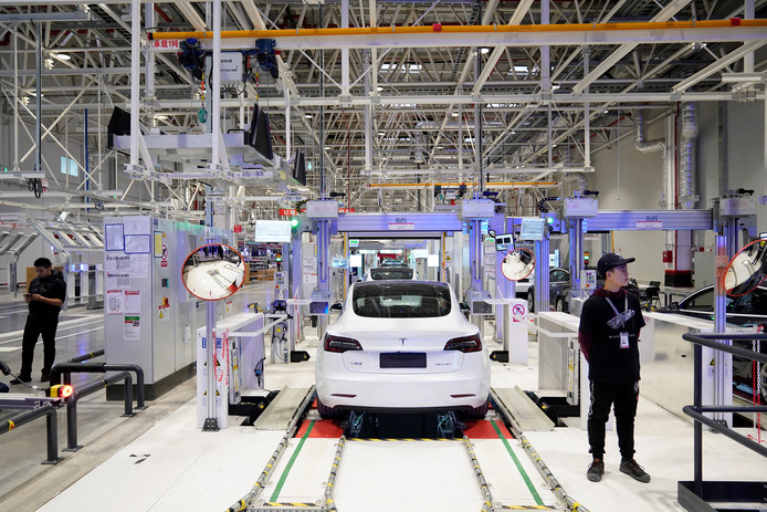 Een Telsa-fabriek in Shanghai