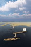 Een impressie van de Zwammerdam-schepen zoals ze 1800 jaar geleden in West-Nederland voeren.