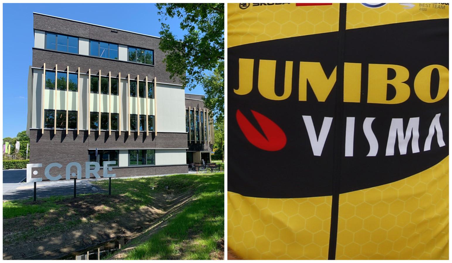 Het kantoor van Ecare in Enschede en rechts het logo van JumboVisma, de succesvolle wielerploeg waar Visma zijn naam aan heeft verleend.