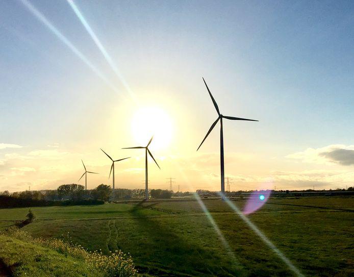 Windmolens langs de A15 bij Nijmegen.