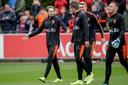 Matthijs de Ligt met Daley Blind, Kevin Strootman en Jasper Cillessen tijdens de training van Oranje.