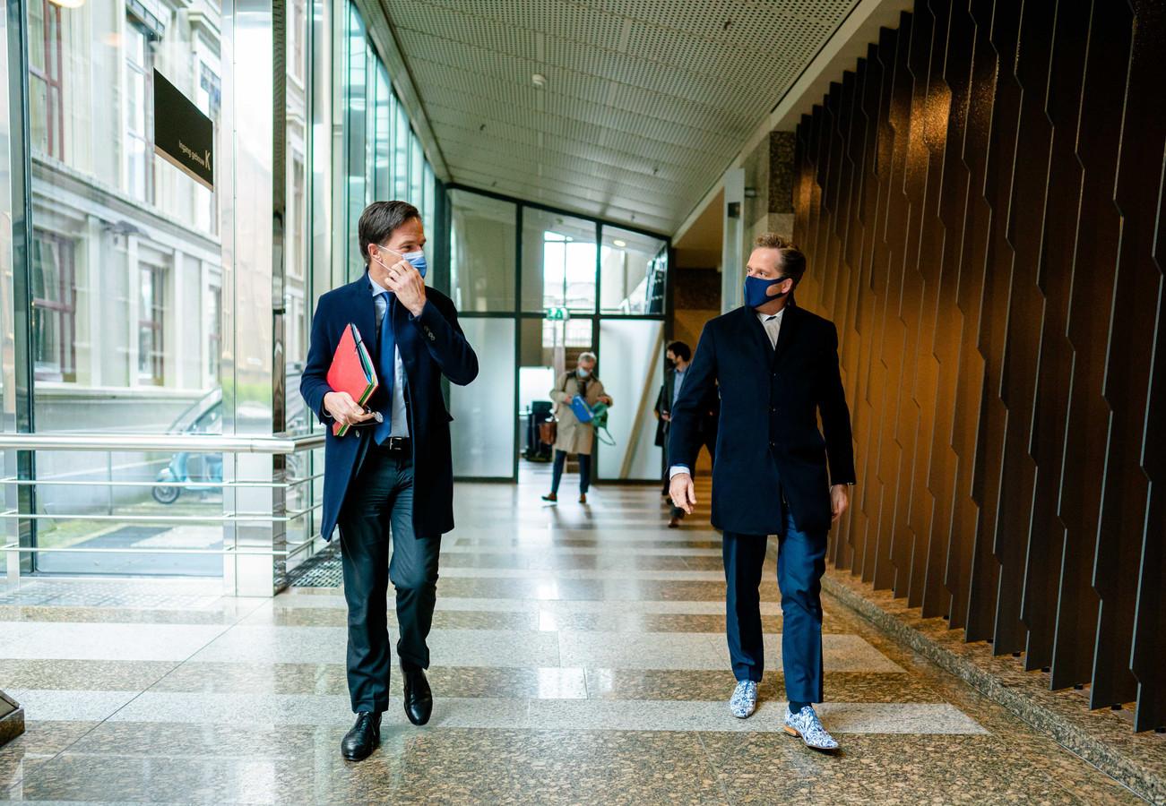 Premier Mark Rutte en minister Hugo de Jonge.