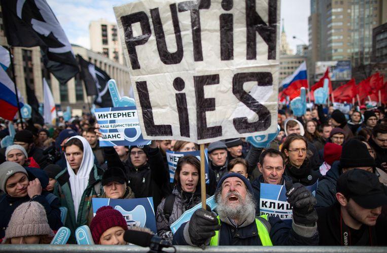 Demonstraties tegen (internet)censuur in Moskou in maart 2019. Beeld AP