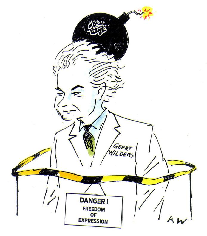 Spotprent over Geert Wilders van de Deense Mohammed-cartoonist Kurt Westergaard