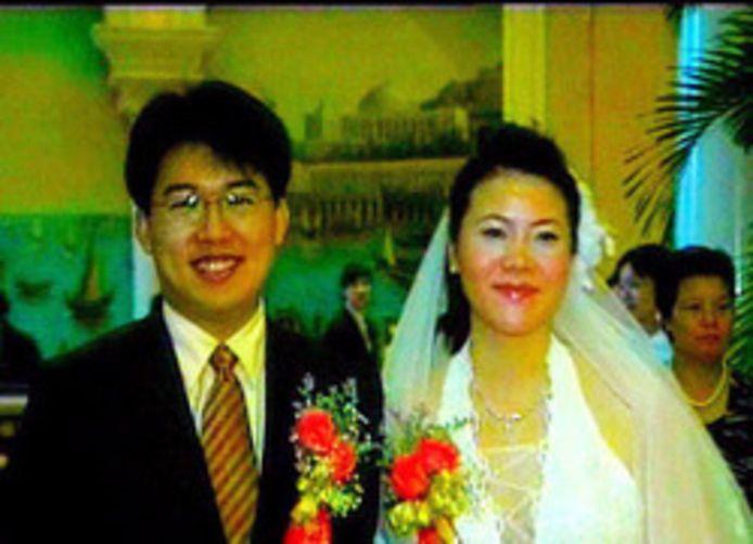 Yang Huiyan (rechts) op haar huwelijk.