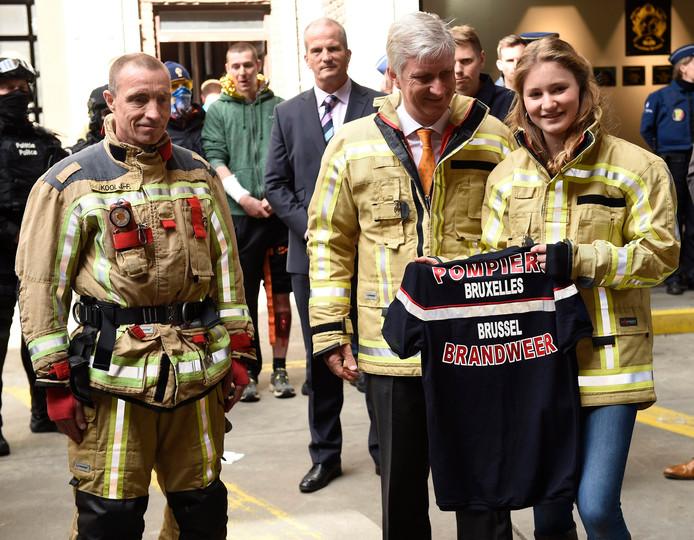 Visite du Roi Philippe et de la Princesse Elisabeth au Centre de formation des pompiers de Bruxelles