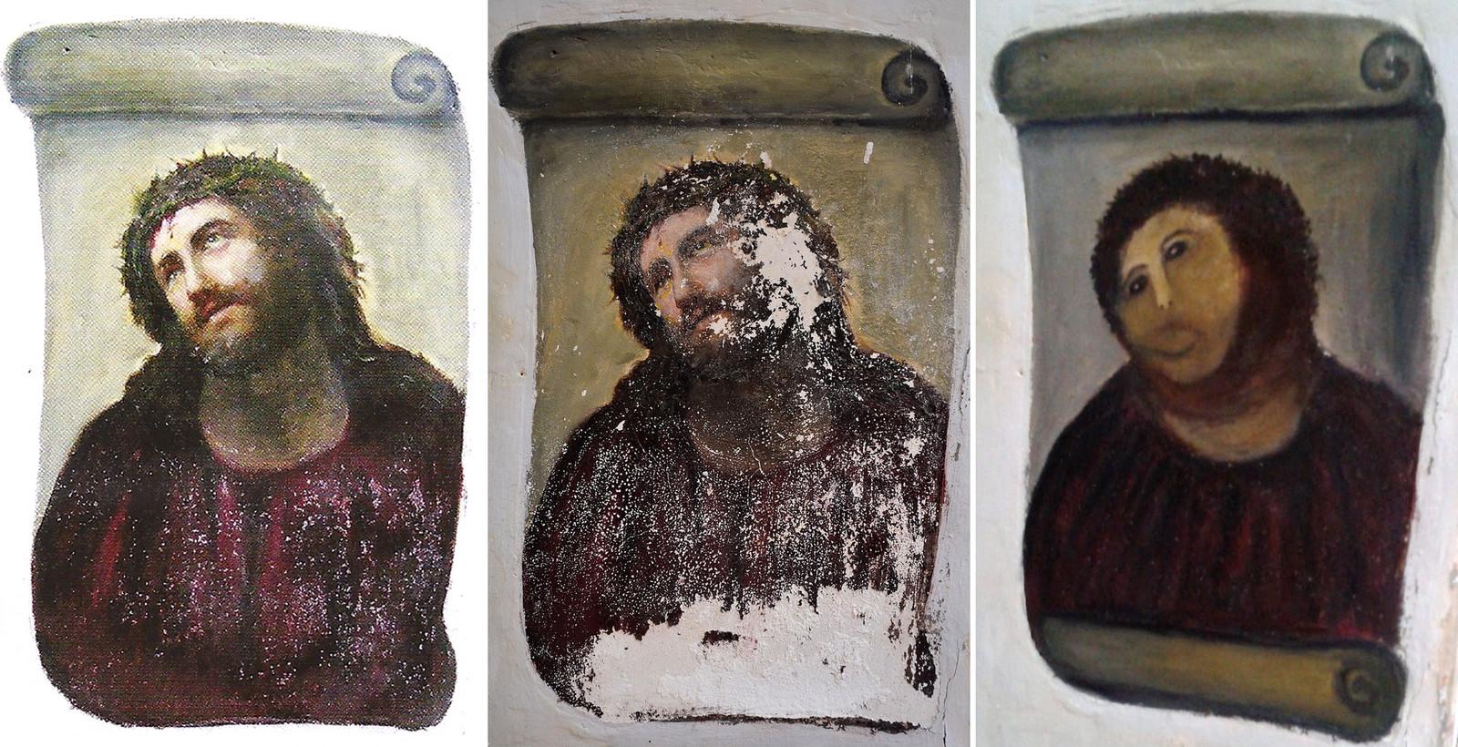 Dit 'Ecce Homo'-fresco in Borja kreeg het in 2012 zwaar te verduren.