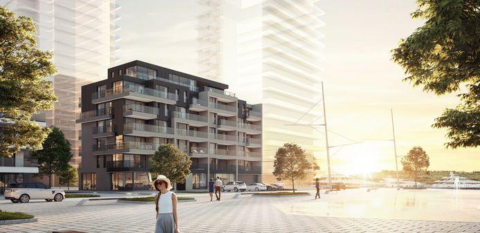 Een toekomstbeeld van het nieuwe gebouw van Groep Versluys op de Oosteroever