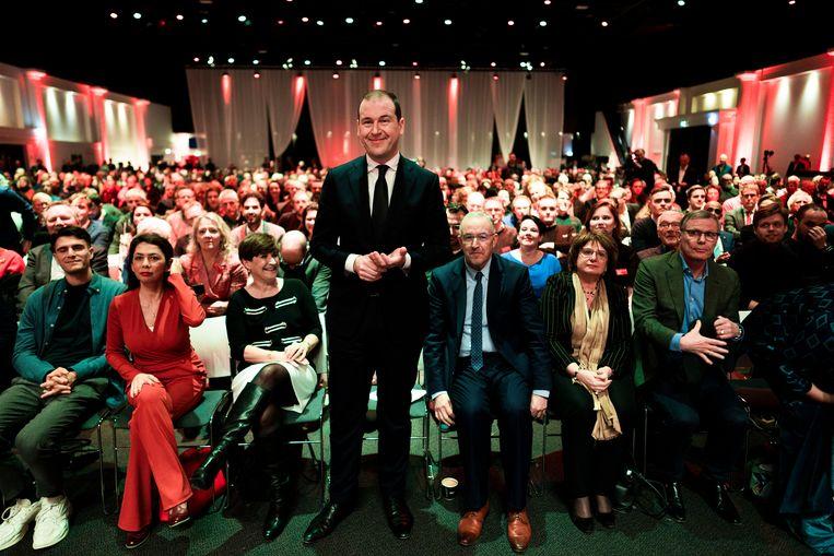 Lodewijk Asscher voor zijn toespraak tijdens het jaarlijkse partijcongres van de PvdA.  Beeld Freek van den Bergh