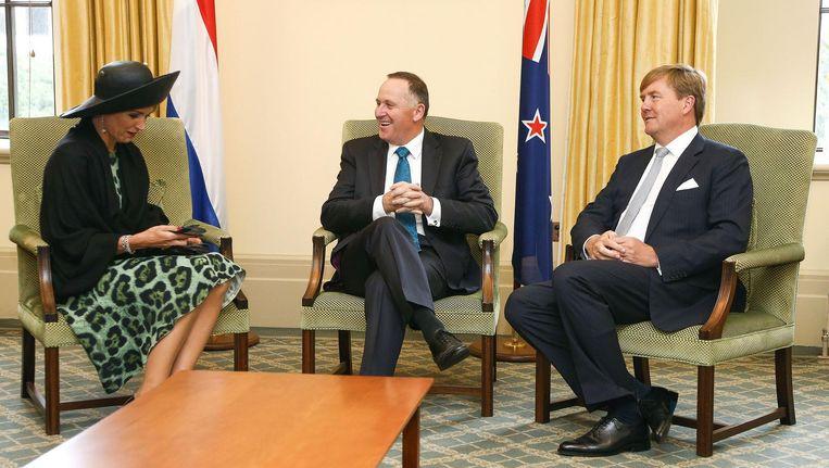 Koningin Máxima en koning Willem-Alexander tijdens een ontmoeting met de Nieuw-Zeelandse premier John Key. Beeld afp