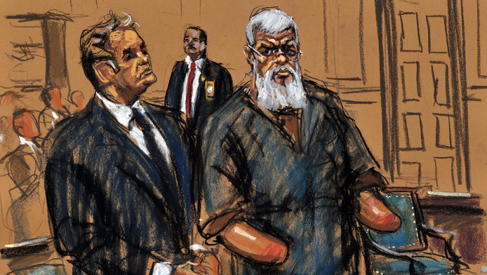 Abu Hamza al-Masri op een rechtbanktekening