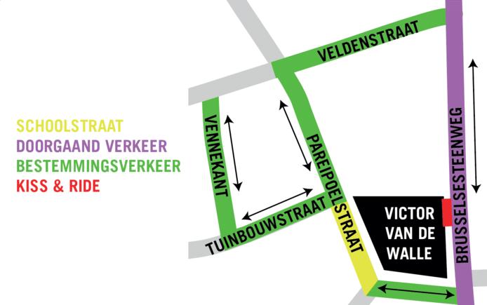 Een kaartje van de nieuwe verkeerssituatie bij de invoering van de schoolstraat in de Pareipoelstraat.