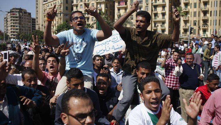 Anti-Mubarakprotest op het Tahrirplein in Caïro. Beeld ap