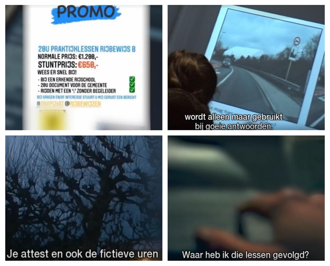Stills uit de Pano-reportage 'Rijbewijs gekocht'.