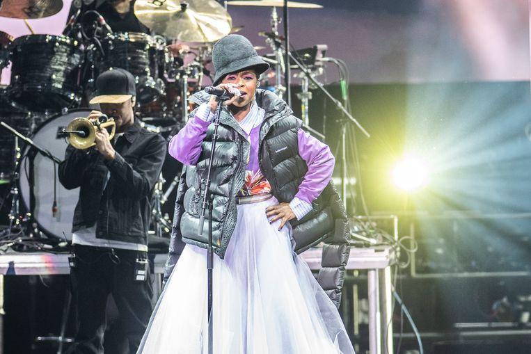 Lauryn Hill, gisteren in Vorst Nationaal. Beeld Alex Vanhee