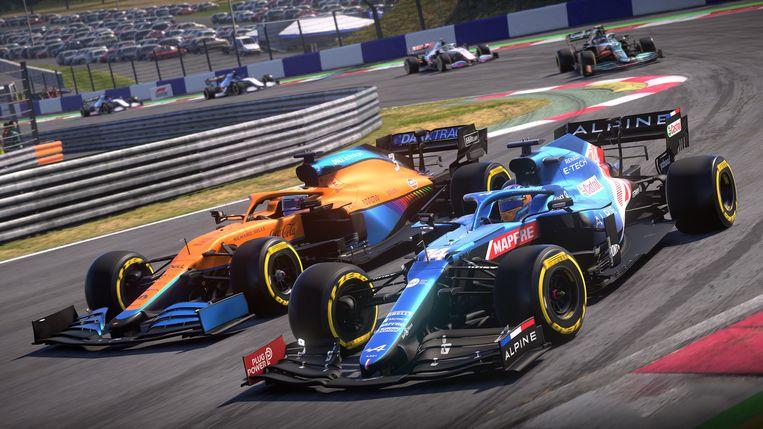 De Formule 1-wagens zijn nauwkeurig nagebootst in F1 2021. Beeld Codemasters