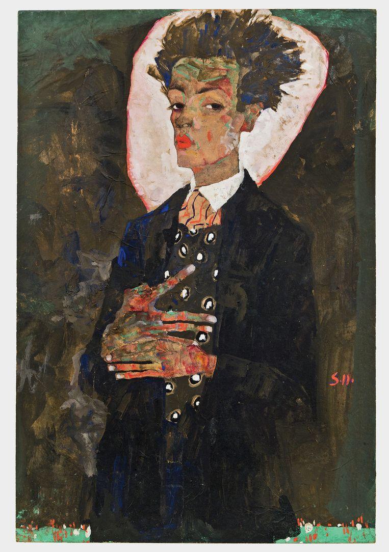 Zelfportret van Egon Schiele uit 1911. Beeld Courtesy of Ernst Ploil, Vienne