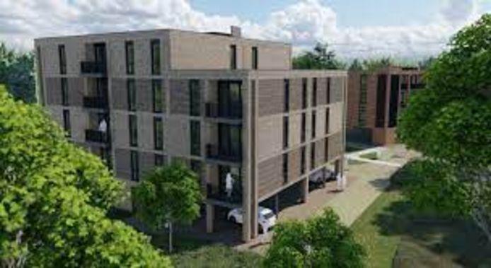 Appartementencomplexen De Nieuwe Haghe I & II op voormalige locatie Sportfondsenbad.