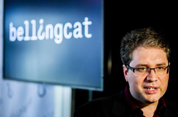 Eliot Higgins van opensource onderzoeksorganisatie Bellingcat tijdens een persconferentie over bevindingen in het onderzoek naar MH17.