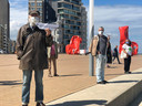 De actievoerders verzamelden op het Zeeheldenplein in Oostende.