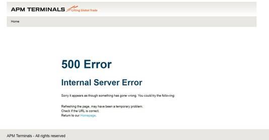 De website van APM Terminals is onbereikbaar.