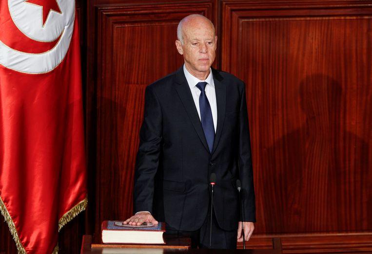Kais Saied werd in 2019 met een grote meerderheid verkozen als president.  Beeld Reuters