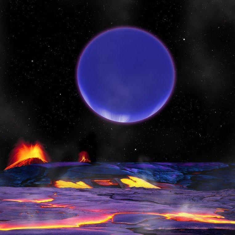 Impressie van een nacht op 'superaarde' Kepler-36b. Het landschap is één zinderende lavavlakte en eens in de 97 dagen verschijnt de zusterplaneet Kepler-36c aan de hemel, die drie maal zo groot is als onze maan. Beeld afp