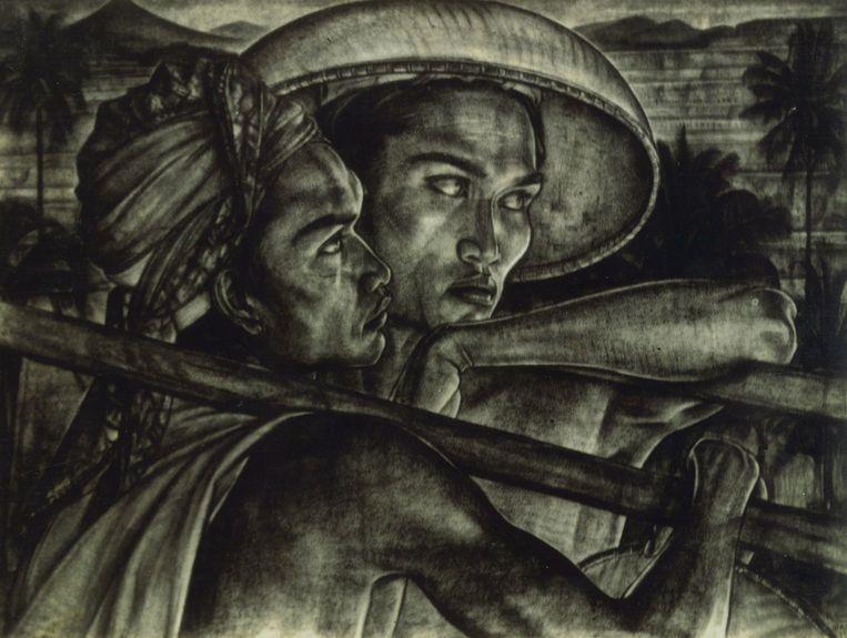 Het verdwenen kunstwerk 'Balinese mannen met hak'  van de Nederlandse kunstenaar Rudolf Bonnet. Tijdens zijn internering werd zijn huis in Bali leeggeroofd. Beeld Erven Bonnet