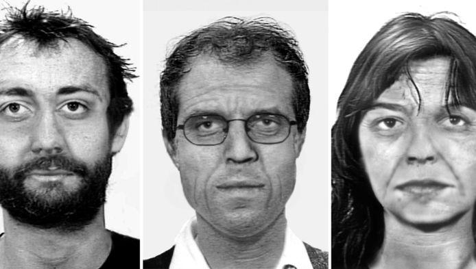 Een in juli 2012 vrijgegeven computertekening van de drie gezochte RAF-terroristen. Van links naar rechts: Burkhard Garweg, Ernst-Volker Wilhelm Staub en Daniela Klette.