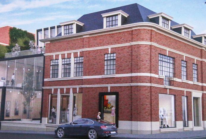 Het hoekpand, waar vroeger hotel Groeninge zat, wordt gerestaureerd. Links zie je de hedendaagse uitbreiding in de Guido Gezellestraat.