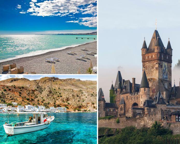 Genieten van de prachtige stranden in Kreta of Frankrijk? Of toch maar een avontuurlijke wandeling in de Moezelstreek? Er is voor ieder wat wils.